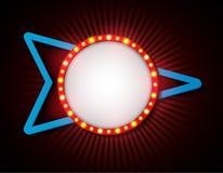 Стиль шильдика ретро с лампами Винтажное знамя с электрическими лампочками Стоковое фото RF