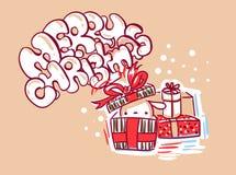 Стиль doodle рождественской открытки зайчика настоящих моментов милый бесплатная иллюстрация