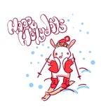 Стиль doodle рождественской открытки характера Нового Года спорта зайчика иллюстрация вектора