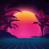 Стиль 1980s ландшафта ретро предпосылки футуристический Поверхность кибер ландшафта цифров ретро предпосылка партии 80s ретро Стоковые Фотографии RF