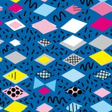 Стиль 80-90s моды Мемфиса геометрических элементов постмодернистский ретро gra несимметричной картины треугольника косоугольника  иллюстрация штока