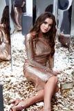 Стиль sequins красивого сексуального платья золота носки женщины тощего сияющий Стоковые Изображения RF