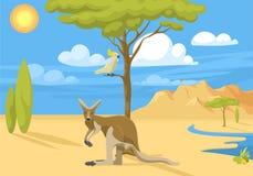 Стиля природы шаржа животных ландшафта предпосылки Австралии вектор леса одичалого популярного плоского австралийский родной иллюстрация штока