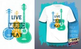 Стиля эскиза лозунга литерности игры живой музыки гитара ретро акустическая, банджо, скрипка, скрипка для дизайна футболки бесплатная иллюстрация