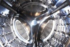 Стиральная машина внутрь Сияющий барабанчик стиральной машины Стоковая Фотография RF