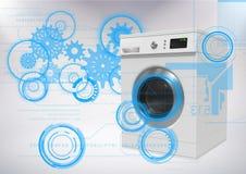 Стиральная машина против серой предпосылки с интерфейсом технологии иллюстрация штока