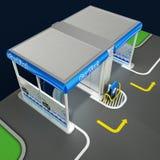 Стирка автомобиля внеконтактная самообслуживания Схема работая процесса оборудования Модель иллюстрации 3d Иллюстрация вектора