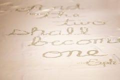 Стих библии на бегуне свадьбы Стоковые Фотографии RF