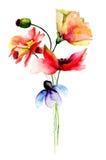 Стилизованная иллюстрация акварели цветков Стоковое Изображение