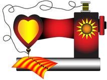 Стилизованная красная и желтая швейная машина Стоковые Изображения RF