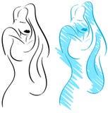 Стилизованная элегантная изолированная женщина Стоковые Изображения RF
