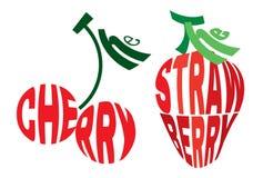 Стилизованное изображение в форме вишни и клубники Стоковое Фото