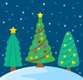 Стилизованное изображение 3 темы рождественских елок Стоковое Изображение