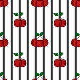 Стилизованные вишни на черноте stripes предпосылка, безшовная Стоковое Изображение