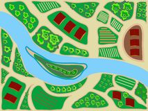 Стилизованные зеленые цвета поля реки взгляд сверху зоны карты Стоковая Фотография RF
