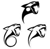 Стилизованные силуэты головы тигра иллюстрация штока