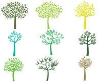 Стилизованные силуэты дерева зеленого цвета вектора Иллюстрация вектора