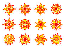 Стилизованные солнца вектора Стоковые Изображения