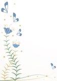 Стилизованные цветки и бабочки Стоковое Изображение RF