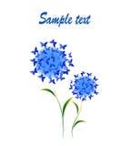Стилизованные цветки с бабочками Стоковое Изображение