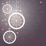 Стилизованные шарики рождества с снежинками. Иллюстрация вектора. бесплатная иллюстрация