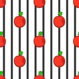 Стилизованные яблоки и прокладки черноты, безшовная картина Стоковая Фотография