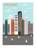 Стилизованный город Чикаго Стоковые Изображения RF