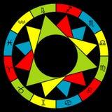 Стилизованный зодиак астрологии разделил в элементы Стоковое фото RF