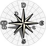 Стилизованный лимб картушки компаса изолированный в черноте Стоковая Фотография RF