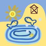 Стилизованный коттедж озером - vector иллюстрация Стоковое Фото
