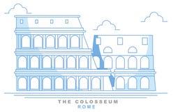 Стилизованный Колизей, римский амфитеатр, Рим, freehand дизайн Италия иллюстрация вектора