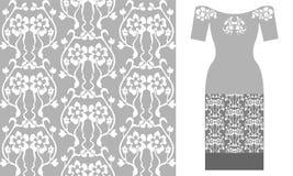 Стилизованный орнамент штофа с флористическими мотивами Стоковая Фотография