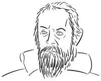Стилизованный портрет Галилео Галилея Стоковая Фотография RF