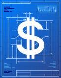 Знак доллара любит светокопия чертежа иллюстрация вектора