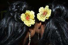 Стили причёсок 2 темн-с волосами девушки с желтыми цветками в ее волосах Стоковое Изображение RF