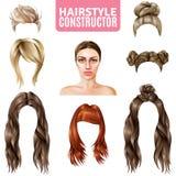 Стили причёсок для конструктора женщин иллюстрация вектора