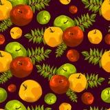 Стильная безшовная картина листьев и яблок Картина плодоовощ Предпосылка сбора Яблока красивая для поздравительных открыток, приг Стоковые Изображения RF
