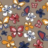 Стильная безшовная картина с бабочками и цветками иллюстрация штока