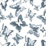 Стильная безшовная картина с бело- серыми бабочками бесплатная иллюстрация
