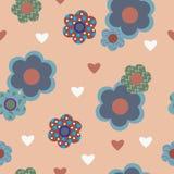 Стильная безшовная предпосылка с декоративными сердцами цветков иллюстрация вектора