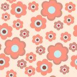 Стильная безшовная текстура с цветками на розовой предпосылке иллюстрация штока