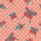 Стильная винтажная флористическая безшовная картина с бабочками Doodles Стоковое фото RF