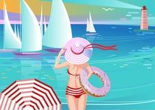 Стильная девушка в яхтах шляпы наблюдая Стоковое Изображение