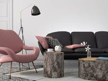Стильная живущая комната в розовом и сером цвете иллюстрация штока