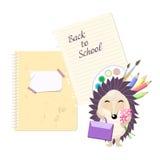 Стильная карточка воодушевленности в милом стиле с ежом шаржа Шаблон для дизайна печати задняя школа к Стоковое фото RF