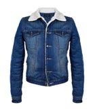 Стильная куртка джинсовой ткани в холодном сезоне на белизне Стоковая Фотография