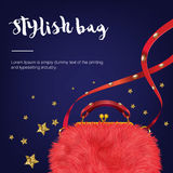 Стильная мода и ультрамодная сумка женщины шерстей с звездами Стоковое Фото