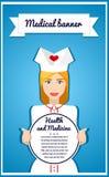 Стильное знамя вектора для служб здравоохранения вектор текста иллюстрации рамки Девушка держа знамя Медсестра плиты информации,  Стоковая Фотография RF