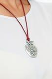 Стильное серебряное ожерелье на модельной шеи Собрание ювелирных изделий весны Стоковое Изображение