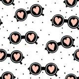 Стильные безшовные солнечные очки картины Предпосылка минималистской моды ультрамодная также вектор иллюстрации притяжки corel Стоковое Фото